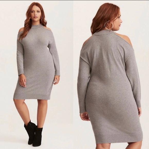 f31265902ac Torrid Dresses   Grey Knit High Neck Cold Shoulder Dress 2   Poshmark